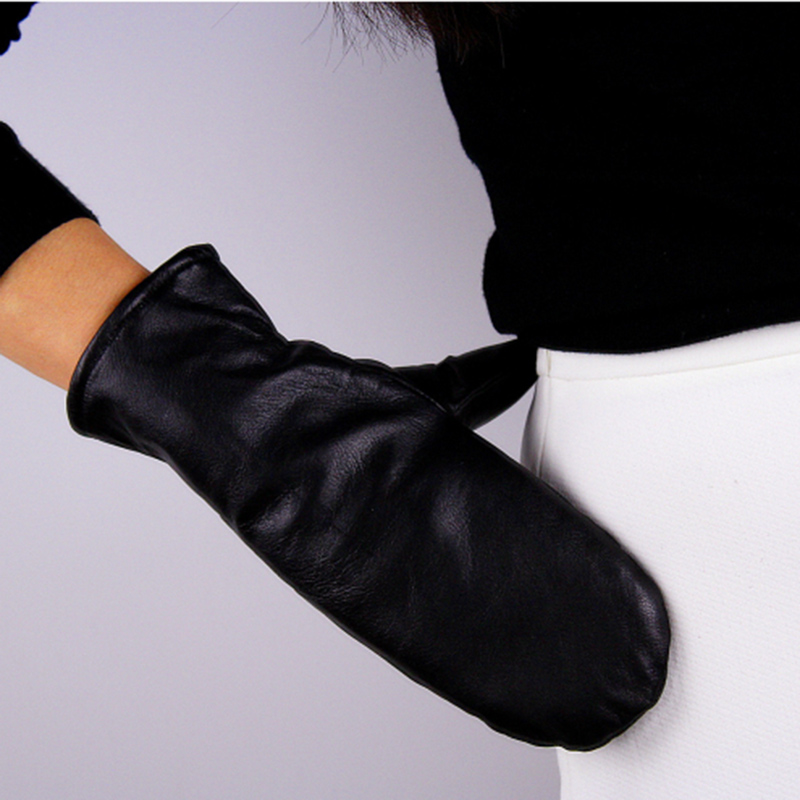 Women Leather Gloves Imported Sheep Skin Black Even Finger White Imitation Cashmere Lined Gloves Unisex TB69 in Men 39 s Gloves from Apparel Accessories