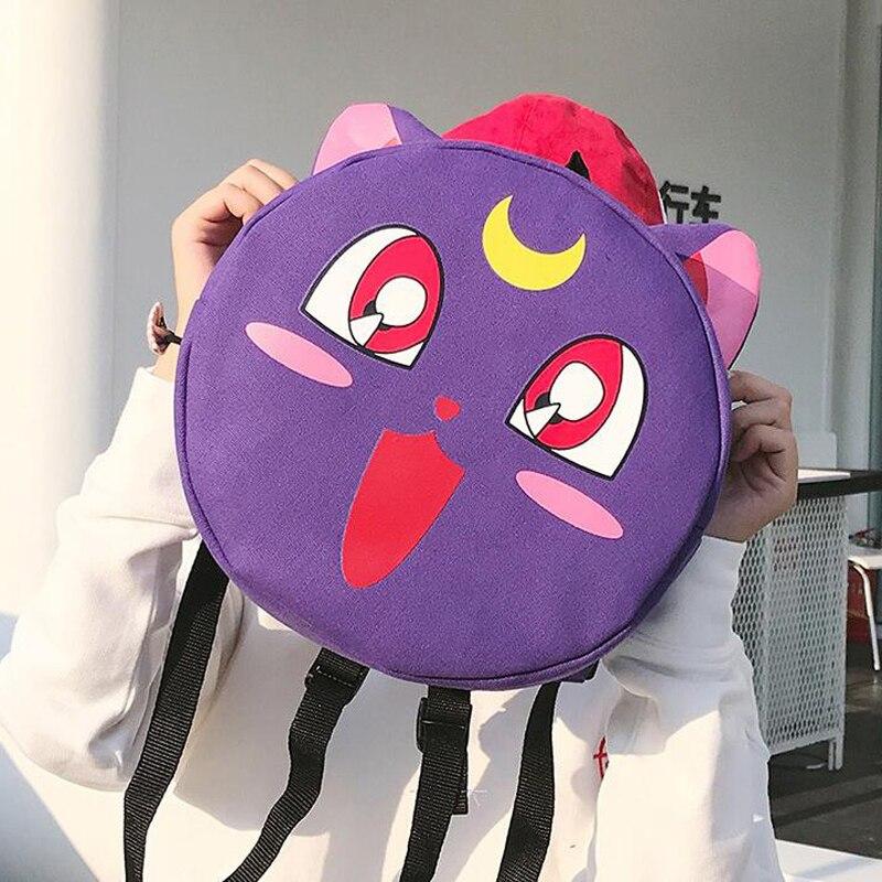 100Pcs/Lot Kawaii Sailor Moon Cat Student Backpacks Canvas Back Pack Rucksack Ladies Shoulder Teenage Girls