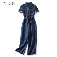 Safari Style Single breasted High Waist with Sashes Denim Woman Jumpsuit Jump Suits for Women Wide Leg Romper Summer Autumn 2019