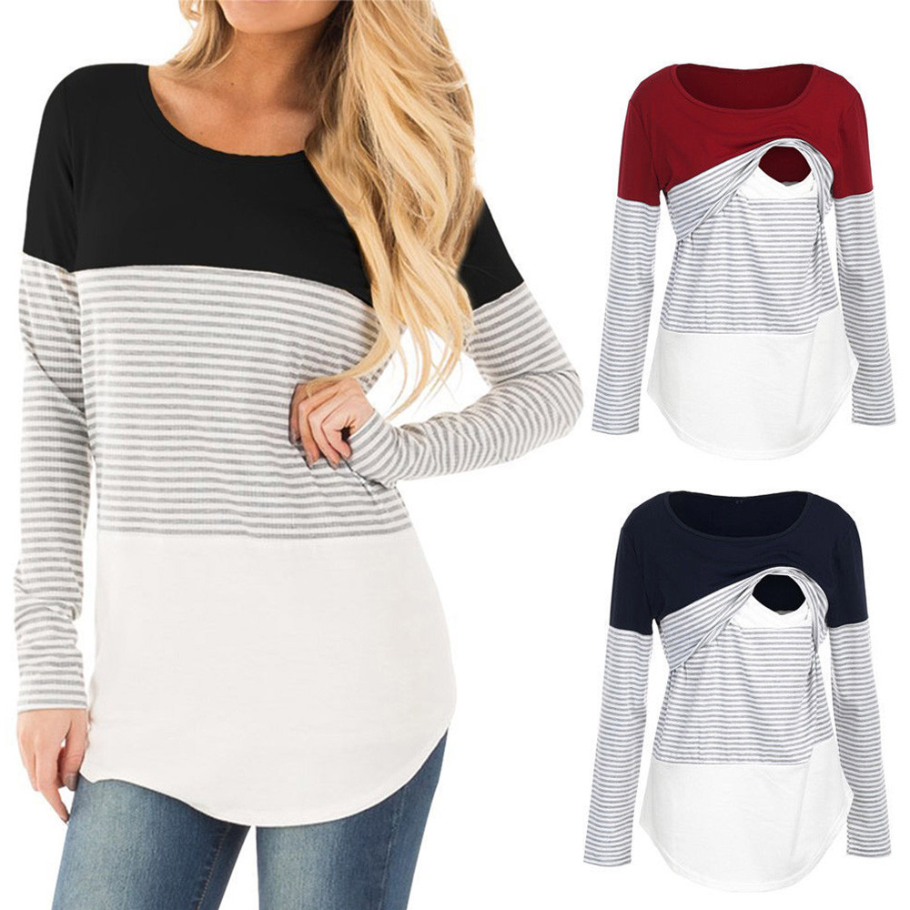 Muqgew 2019 Summer Hot Selling Maternity Clothes Women Mom Pregnant Nursing Baby Maternity Plaid Hoodie Tops Blouse Clothes Colours Are Striking Tees