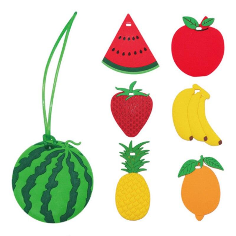 1PC Watermelon Banana Apple Cartoon Fruit Luggage Tags Suitcase Name ID Address Tags Fashion Silicone Gel Label Bag Tag