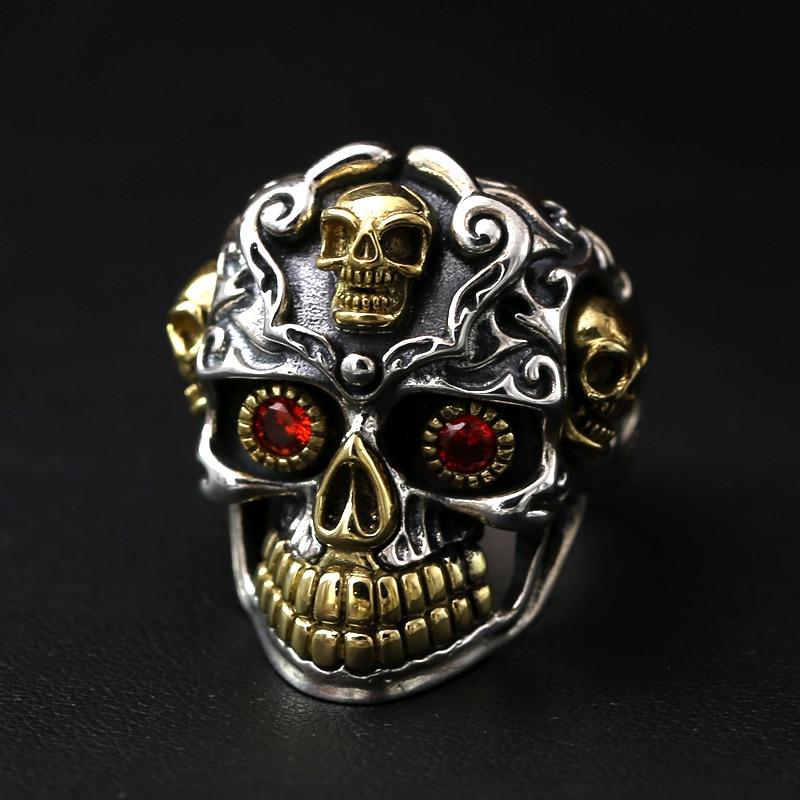 silver S925 men's personality retro skull ring finger and silver ring floral personality rotating silver index finger ring s925 silver turning ring