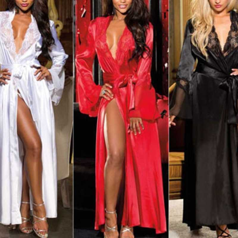 KLV Womens Sexy Long Kimono Dress Lace Bath Robe Lingerie Gown Ice Silk Nightdress Solid Color Nightgown Nightwear Plus Size