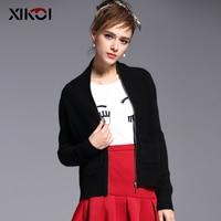 2018 XIKOI Women Soft Short Cardigan 100% Pure Cashmere Sweater New Winter Warm Black V neck Zipper Fashion Top Standard Clothes