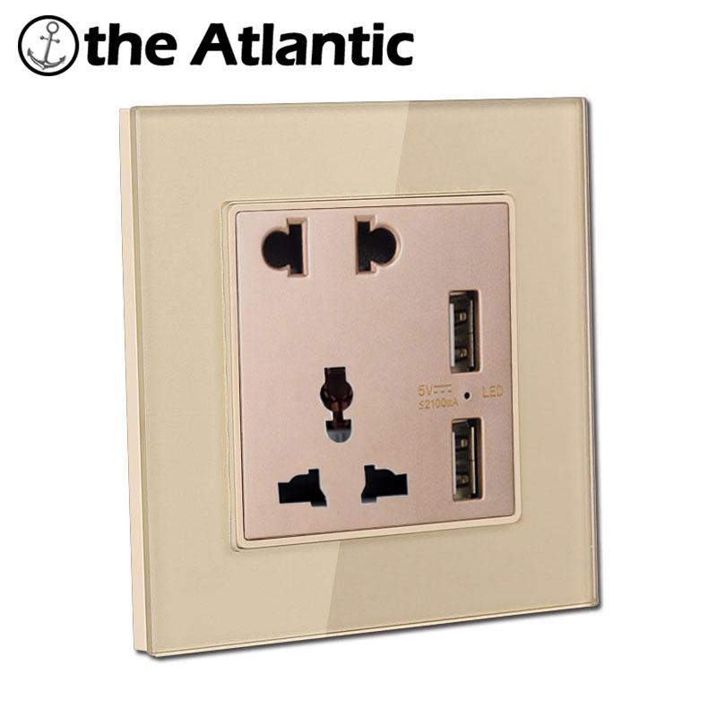 Atlantic Double USB Socket With 5Hole Socket Big Sale 4 Color 16A Universal Switched 5 Hole Pins Socket Crystal Tempered Glass палатка сплав atlantic 4 цвет зеленый
