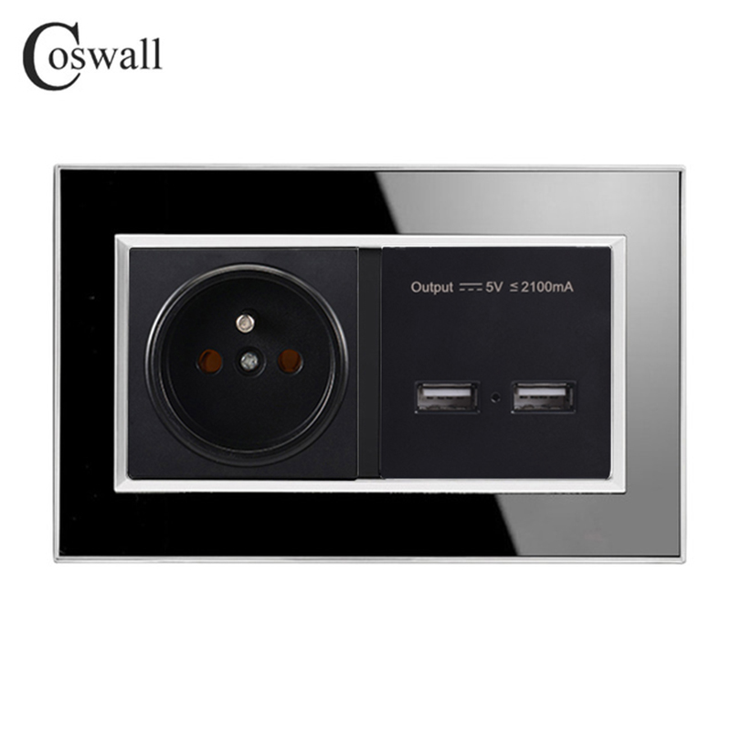 Coswall Black 146 Type 16A French Socket Power Outlet Dual USB Charge Port 2.1A Wall Charger Adapter LED Indicator Acrylic Panel