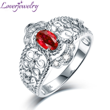 Luxury Design Red Ruby Ring 14K White Gold Speical Anniversary Jewelry Good Diamond Wholesale for Women