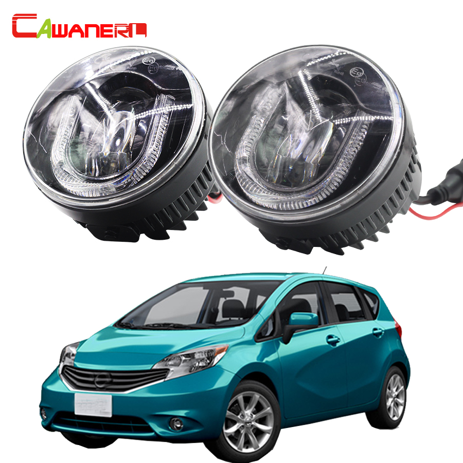 Cawanerl 2 X Car LED Fog Light DRL Daytime Running Lamp Accessories For Nissan Note E11 MPV 2006- for nissan note e11 mpv 2006 2015 h11 wiring harness sockets wire connector switch 2 fog lights drl front bumper led lamp