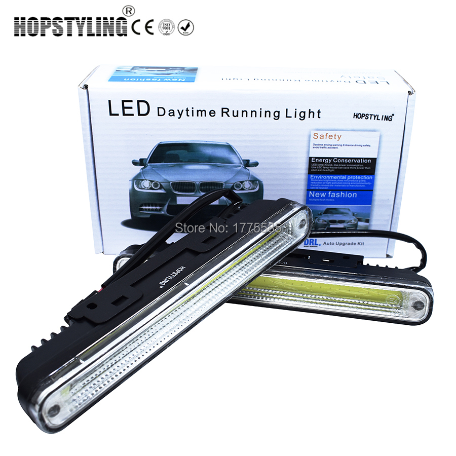 2 x 20cm COB LED Super White DRL Lamp Vehicle / Car Daytime Running Light With Installation Bracket Warning / Security Lamp