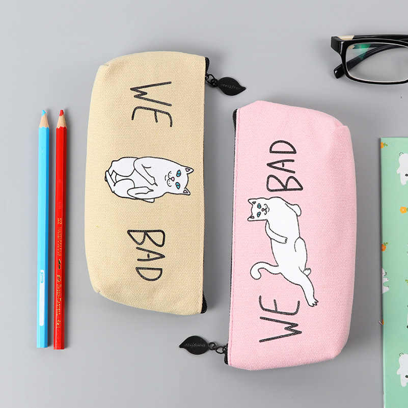 Kawaii 1pcs White Cat Pencil Case For Girls School Supplies Super Big School Stationery Gift Magic Pencil Box Pencilcase