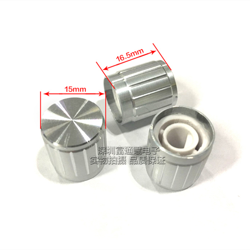 10pcs Aluminum Alloy Knob 15MM * 16.5MM Silver Half Shaft Hole D-type Potentiometer Inner Hole 6MM