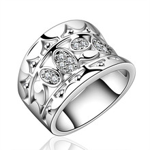Luxury Silver Plated Jewelry Ring For Women CZ Diamond Jewelry Classic Wedding Engagement Bague Femme Anillos Accessories BK0925