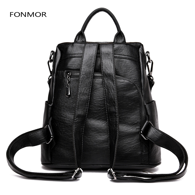 2019 New Fashion Casual Pu Women Anti theft Backpack 2019 Hight Quality Vintage Backpacks Women Big Capacity Female Shoulder Bag in Backpacks from Luggage Bags