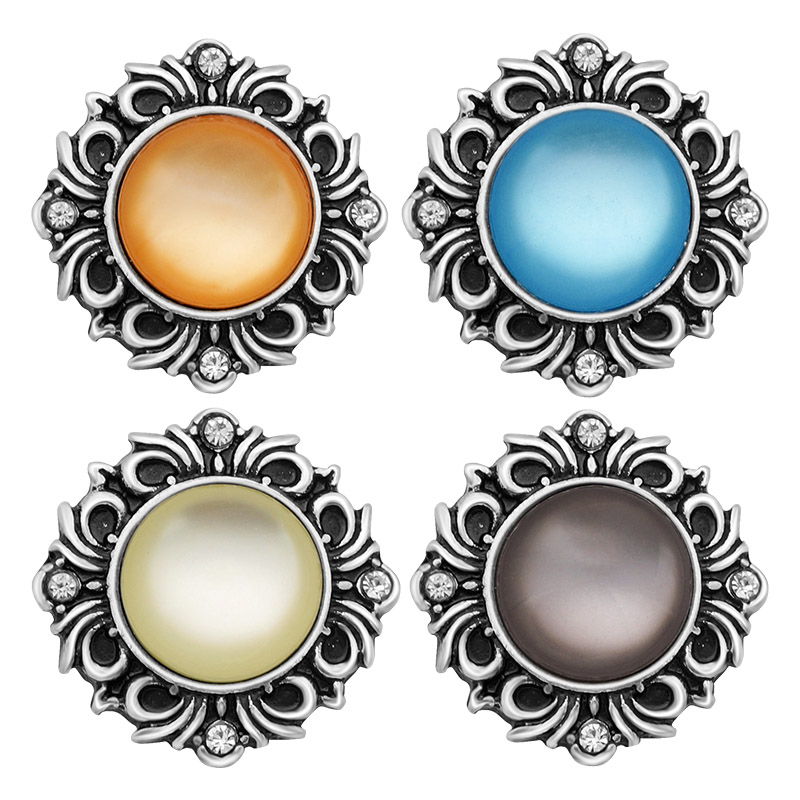 Hot KZ1069 Vintage Charm Cat's eye 18mm snap buttons fit DIY snaps bracelets necklaces jewelry wholesale trendy women