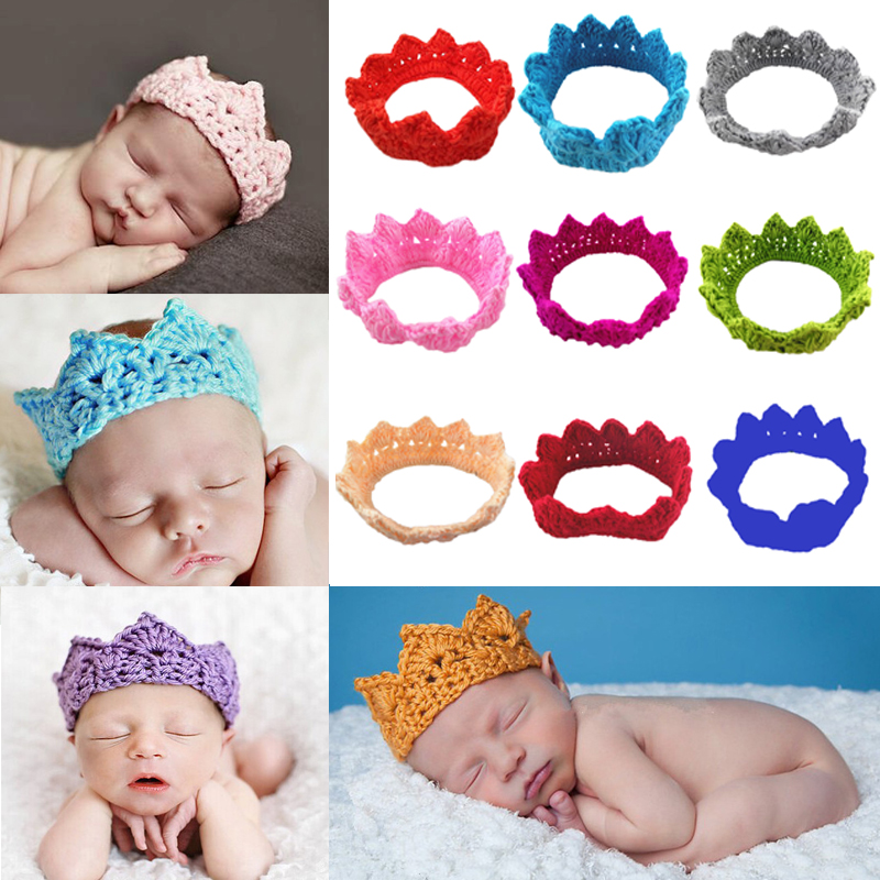 Knitting Crown Nyfödda fotografier Props Söta Baby Kepsar Mjuka Baby Strikte Hatt Bebe Infant Headband Crochet Girl Hats