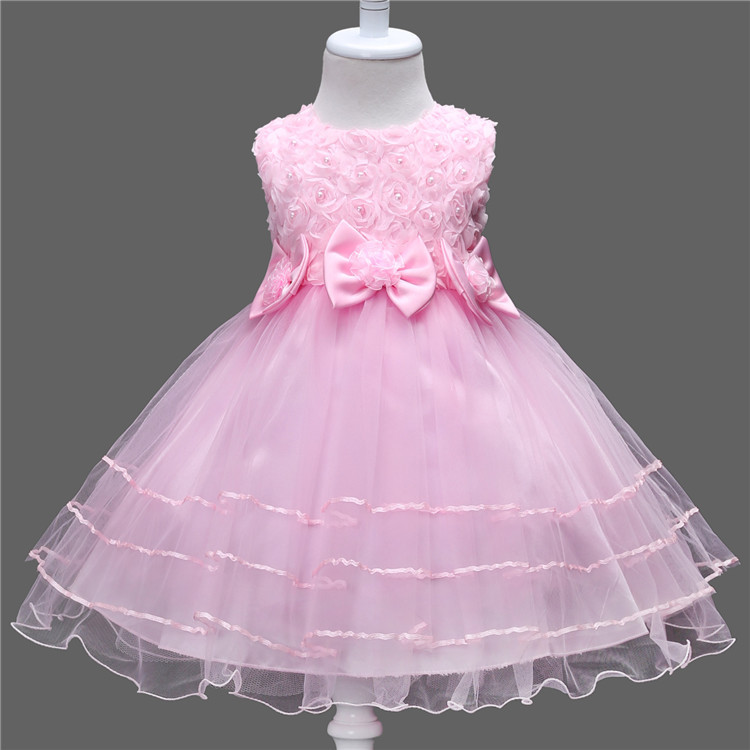 Girls  Flower Princess  Dress Birthday Party Dresses Children Princess Wedding Dress Clothes 5 Color brwcf flower girls dress for party wedding birthday 2017 summer princess dresses leopard printing children clothes 2 8years
