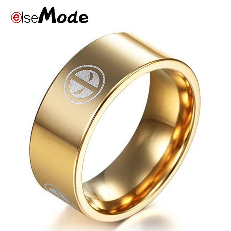 ELSEMODE  Marvel Comics Movie Deadpool Black 8mm Ring For Men Boy Jewelry 316 L Stainless Steel Fans Party Gift