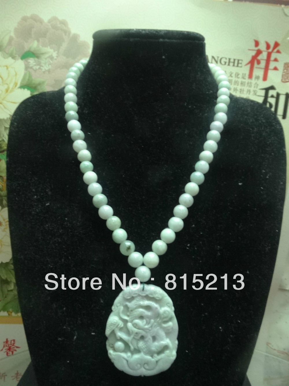Free shipping ddh006 Light green Natural A Jadeite Beads Necklace/lavender&green dragon pendant 5.3 pretty handwork natural light green grade a jadeite buddha guanyin lucky amulet pendant free necklace certificate fine jewelry