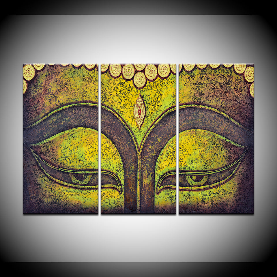Canvas Painting Buddha eyes artwork 3 Pieces Wall Art Painting ...