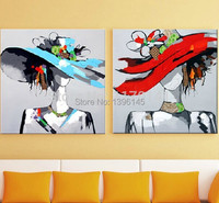 Abstract Portrait Oil Painting on Canvas 100% Handpainted Wall Art for Home Decoration in Living Room 2 pieces/set