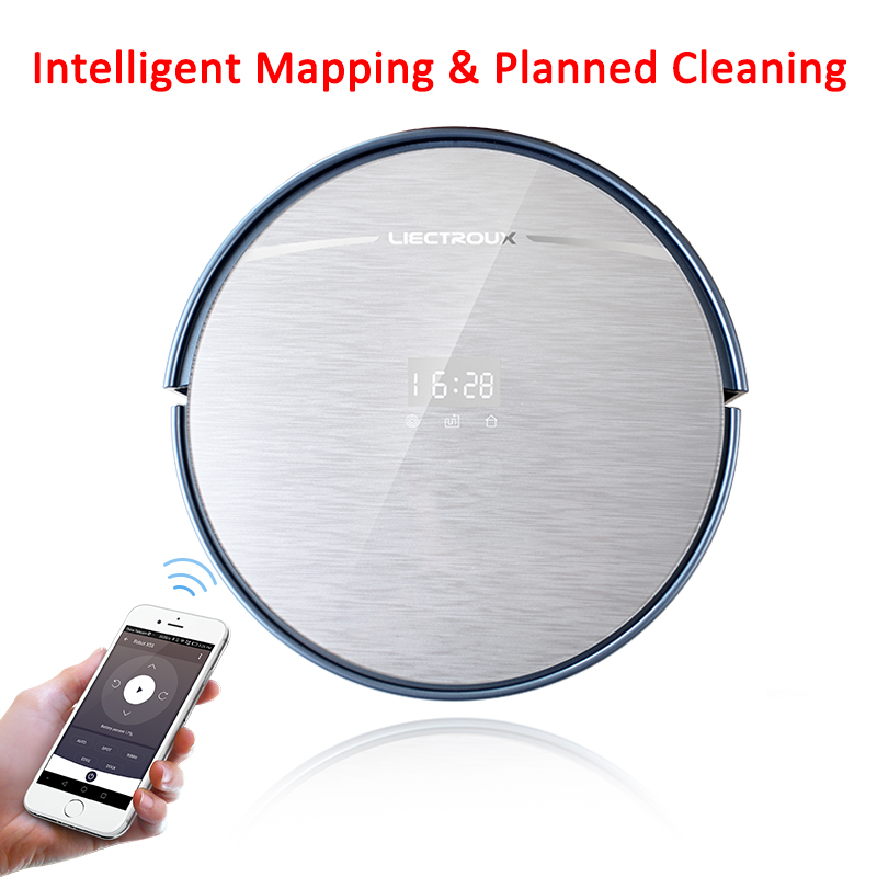 LIECTROUX Most Advanced Robot Vacuum Cleaner X5S with WIFI APP Control, Map Navigation,Big Dustbin&Water tank, Wet Dry Mop,  cleanmate robot vacuum cleaner qq6 mini cleaner ultrasonic app in wifi control dry wet mop water tank virtual wall