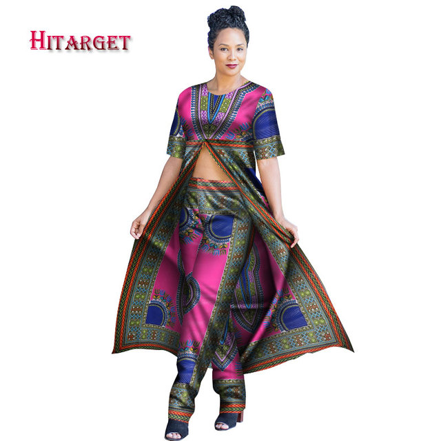 950c6b45d0 African Women 2 Piece Set Dashiki Cotton Print Wax Long Crop Top and Pant Set  Good Sewing African Women Suits Clothes WY2950