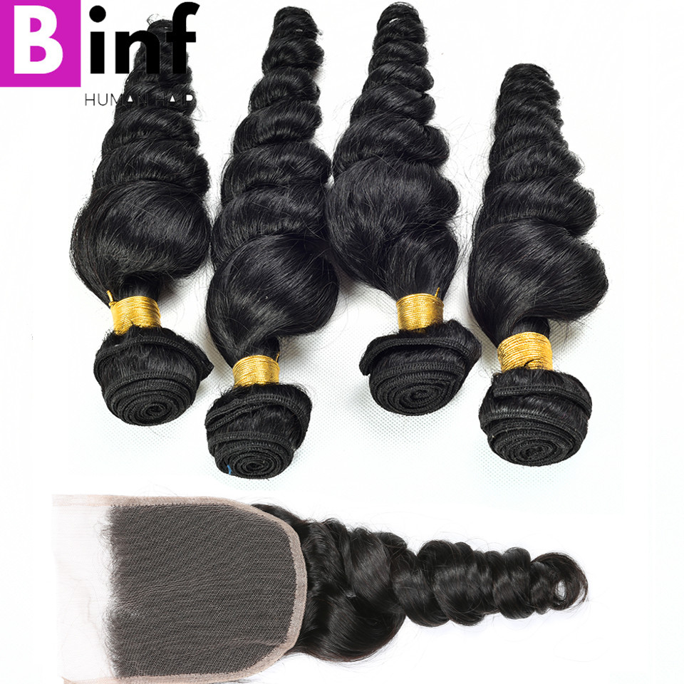 BINF Hair Indian Loose Wave 4 Bundles 100% Human Hair With 4*4 Lace Closure Natural Color 1B Remy Hair Extension Free Shipping