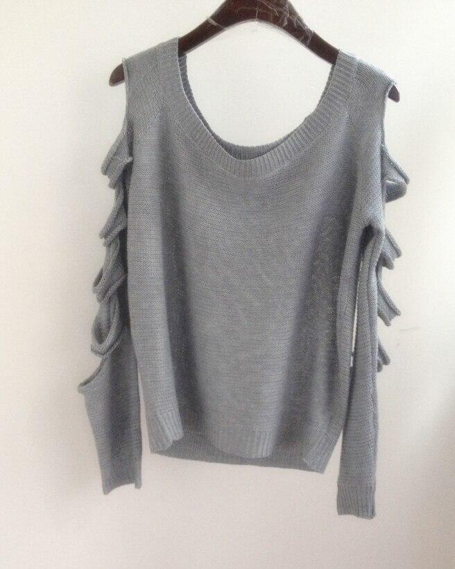 QA887 Mujeres jumper suéter de gran tamaño camisa de manga larga del hombro de p