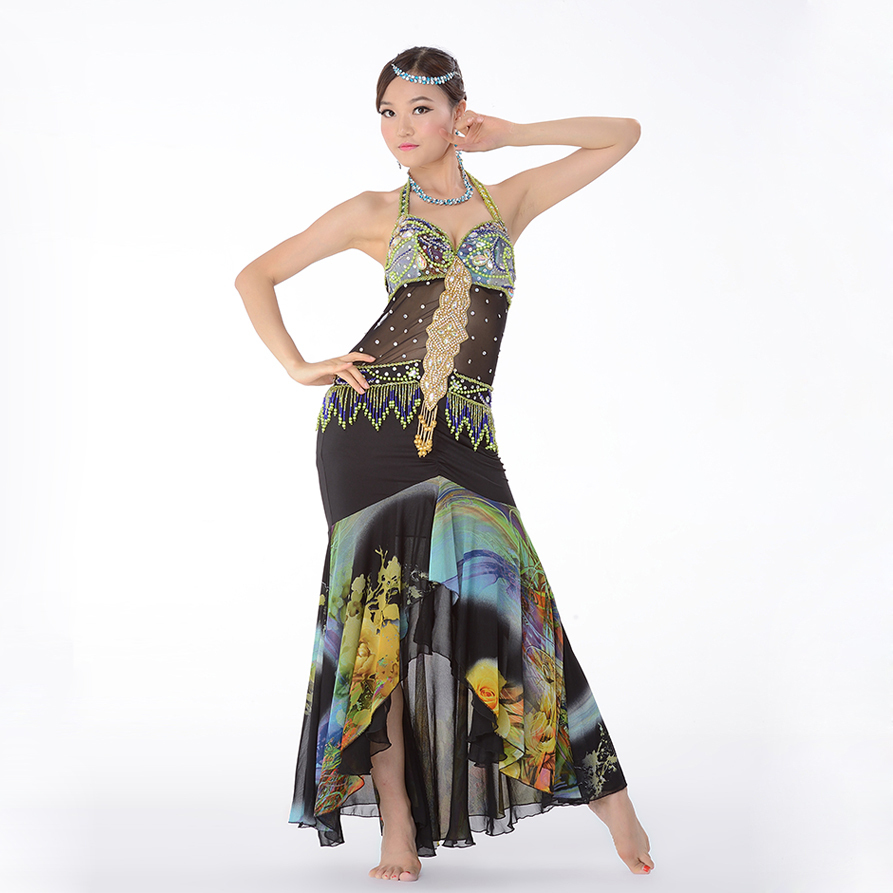 Professional Egyptian Bellydance Outfit One Piece Dress Slim Beads ...