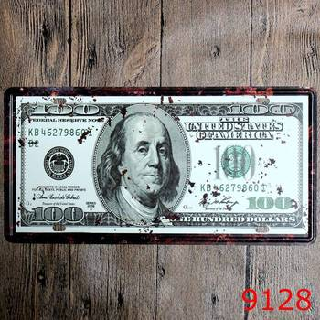 100 denominated US dollars Tin Sign Metal Poster Vintage Plaque Wall Art Painting Sticker Pub Bar Home Decor 20*30CM image