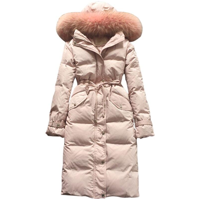 2019 New Women   Down     Coat   Winter Long Sleeve Loose Outer   Coats   Big Natural Raccoon Fur Collar Long   Down   Parka LP439
