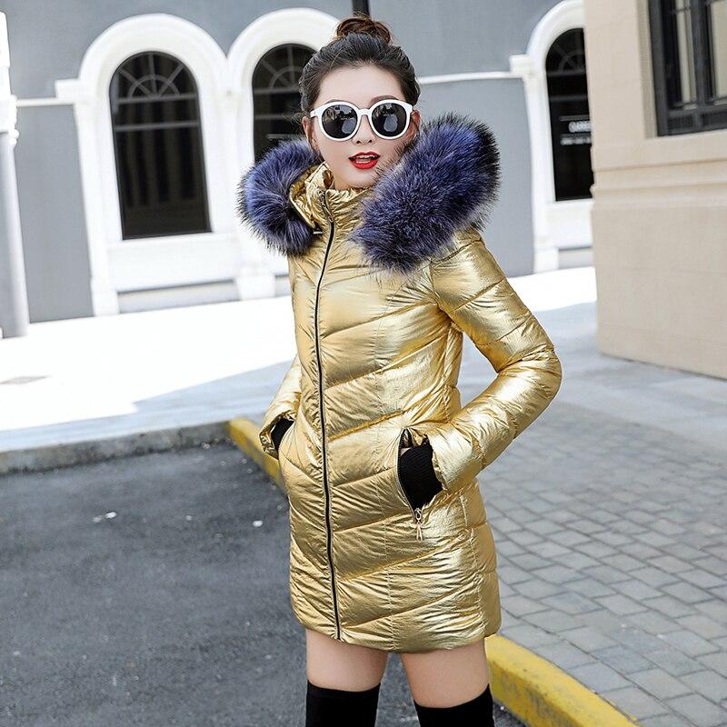 Cappuccio Outwear Femminile Cappotto Di Delle Cotone argento Addensare 2019 Giacca Pelliccia Oro Donne Collo Parka Lungo Caldo Con Invernale Imbottito qP0nwSRO