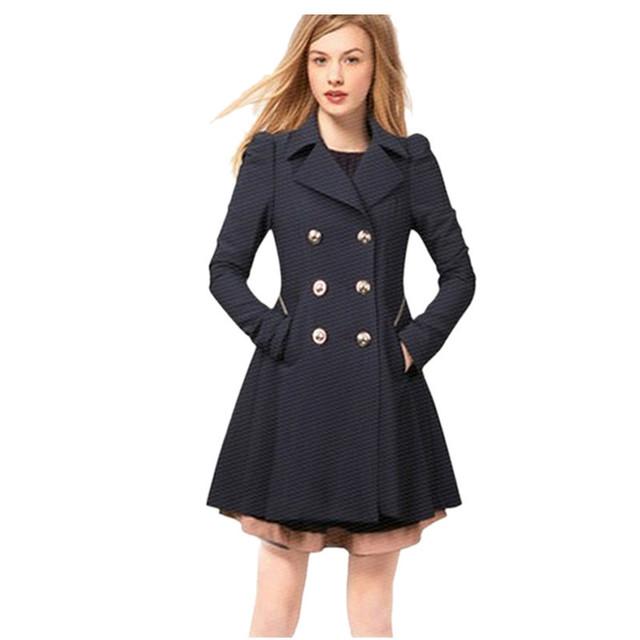 Otoño Invierno Nueva Trinchera Llegada Mujeres Cruzado Damas Abrigo Largo Outwear Slim Fit Moda Elegante Feminino Casaco Oct17