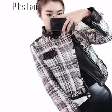 Ptslan Genuine lambskin  real leather Woven tassel coat slim fit lapel coat biker zipper closure