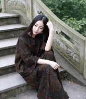 2015 Spring Product Launches Original Design 100 Cotton Linen Loose Big Yards Long Dress Female Bust