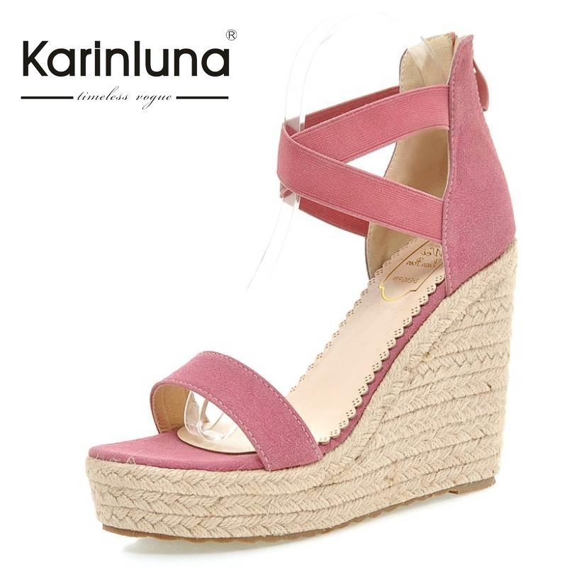 ФОТО Hot Sell brand new Zipper Closure Straw Wedges High Heels Summer Shoes Woman lady Party Wedding Open Toe Platform Sandals