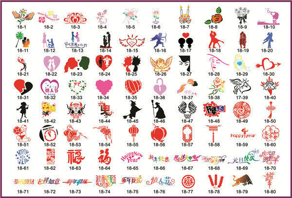 Valentine S Day Series Airbrush Tattoo Stencils Festival Symbols