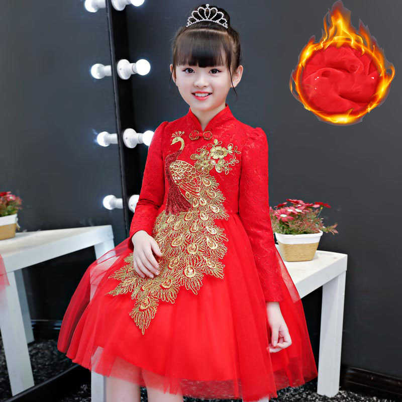 0a192d28c Kids Chinese Dress Mandarin Collar Traditional Tang Costume Layered Mesh  Tulle Dresses Red Lace Puff Sleeve