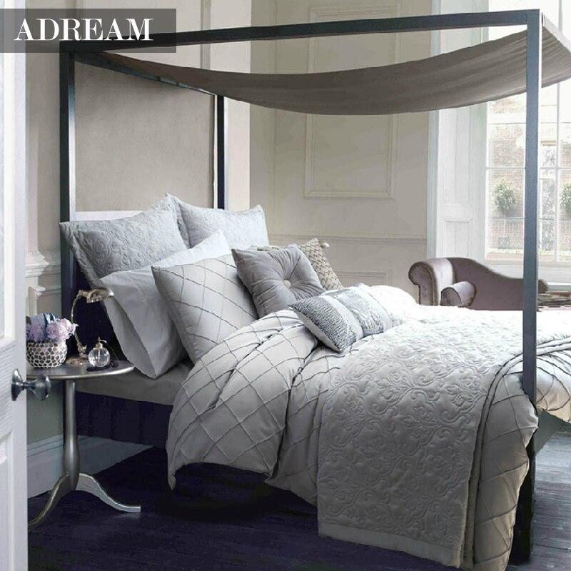 Adream 4pcs Bedding Set Duvet Cover Set Silver Grey Bed