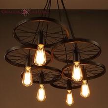Чердак колесо подвесной светильник старинные промышленное освещение американский проходу света лампы 110 В — 220 В