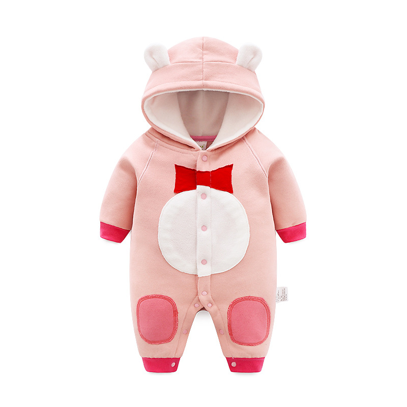 CalaBob Winter Baby Rompers Cartoon Hooded Newborn Baby Girl Clothes Thick Warm Boy Jumpsuit Baby Overalls Infant Clothing baby boy super mario cartoon print rompers winter thick infant character costume girls warm clothes baby bebe jumpsuit outerwear
