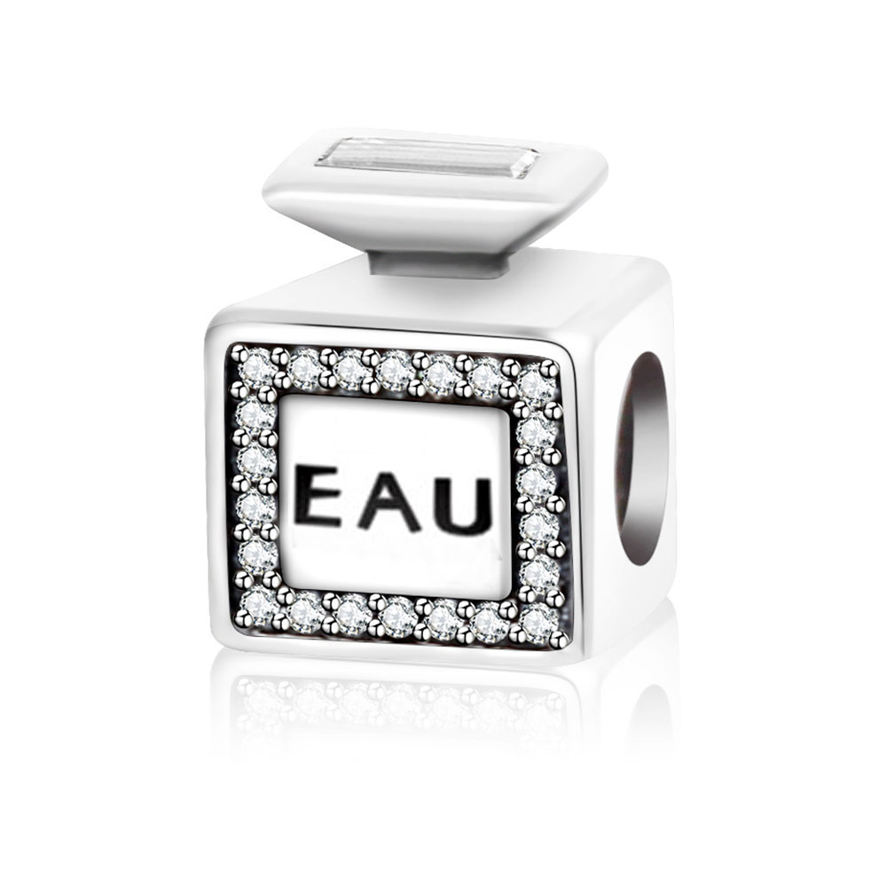 Classic 100% 925 Sterling Silver EAU Perfume Charms With Clear CZ Fit Original Pandora Charm Bracelets For Woman DIY Jewelry