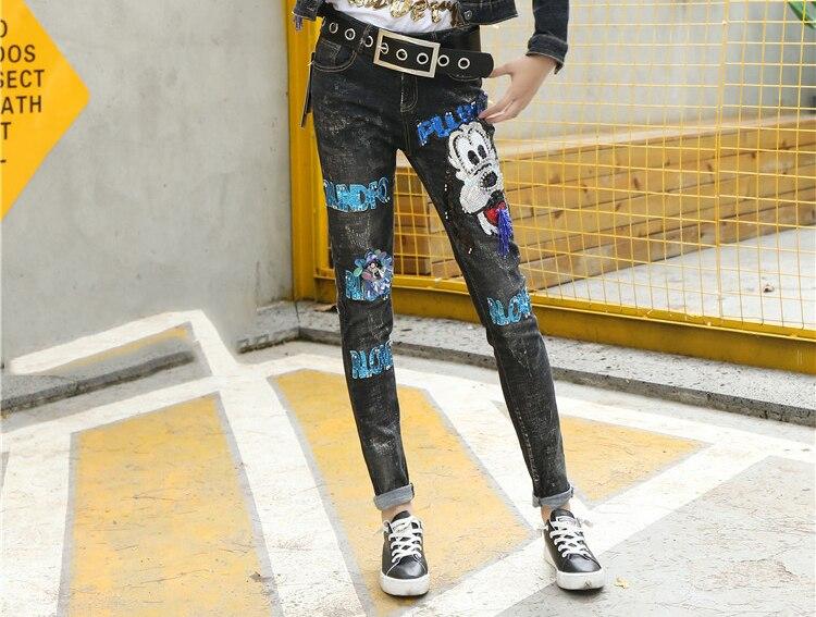 Lentejuelas Vaqueros Cremalleras Vintage 0125 Con Perro Thin Lette Rebordear Moda Sequined Lavado Casual Pantalones WHqg8Rv4Rw