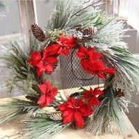 Christmas Supplies Simulation Cypress Tree Leaf Wreath Home Door Wall Hanging Artificial Wreath Christmas Tree Decoration 1pc