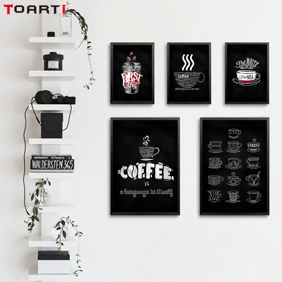 Modern Black White Coffee Cup Canvas Painting Poster And Prints Wall Art Pictures For Coffee Shop Kitchen Home Decoratin Artwork