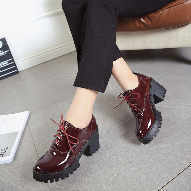 3c53b59c Zapatos de mujer Oxford zapatos de charol bloque tacones altos bombas de  encaje para mujer talla