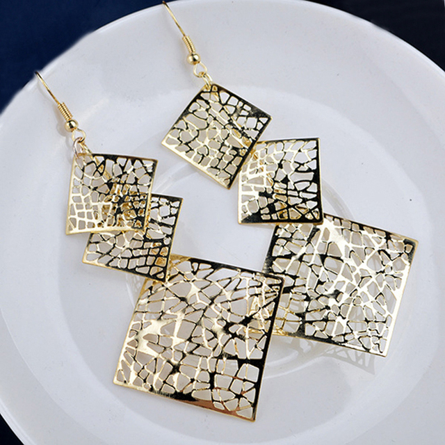 LNRRABC  Long Dangle Drop Earrings Hook Hollow Square   Gold Color Golden/Silvery Evening Party Earring Fashion Jewelry