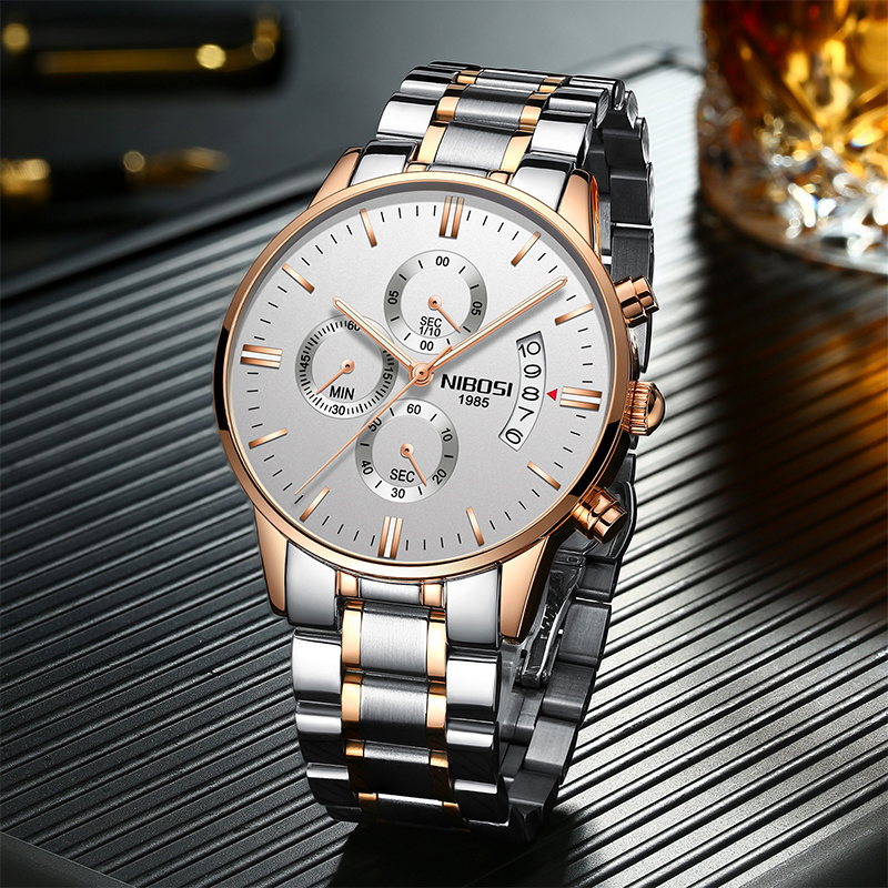 NIBOSI Waterproof Business Watches Men Luxury Brand Quartz Military Watch Leather Steel Men's Wristwatch relogio masculino 1