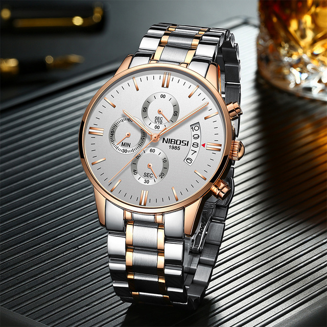 NIBOSI Waterproof Business Watches Men Luxury Brand Quartz Military Watch Leather Steel Men's Wristwatch relogio masculino 1