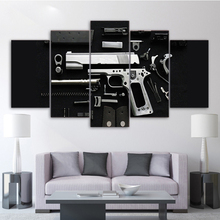 HD Printed Canvas Wall Art Pictures Living Room Home Decoration 5 Pieces Silver Pistol Weapon Painting Modular Poster Framework